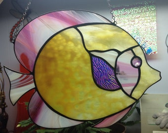 Large Pink Yellow Jeweled and Rainbow Dichroic Stained Glass Fish