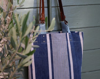 Blue Stripe City Tote. French Ticking Shoulder Bag.Recycled Leather Handles.