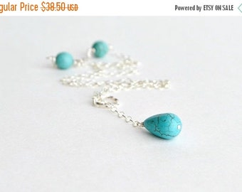 Turquoise Lariat Sterling Silver Lariat Necklace December Birthstone Single Drop Twisted Loop Collier  Turquoise