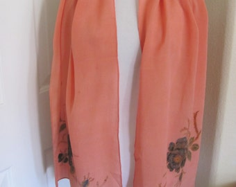 """Beautiful Pink Coral Crepe Painted Silk Scarf // 15"""" x 60"""" Long"""