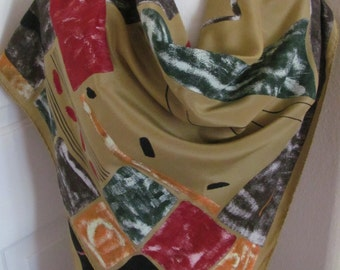 """Wow Large Black Gold Painted Made in Italy Silk Scarf  - 34"""" Inch 88cm Square - Best of the Best"""