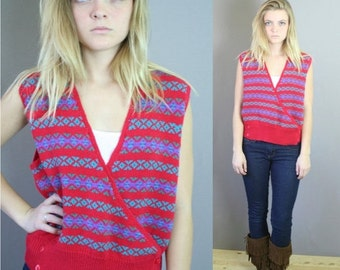 ON SALE Vtg 80s Red Sweater Vest