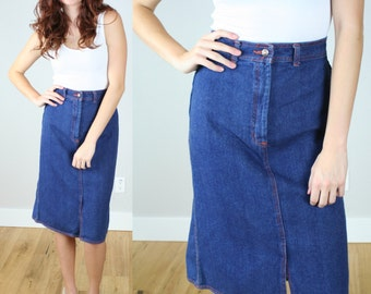 Vintage 80s Mid Length High Waist Denim Skirt