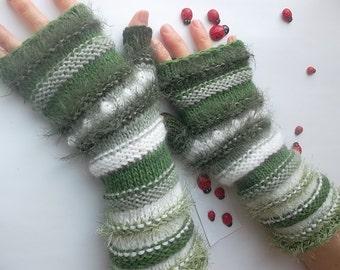 HAND KNITTED GLOVES Women Accessories Fingerless Mittens Elegant Warm Wrist Warmers Arm Crochet Winter Feminine Romantic Cabled Striped 996
