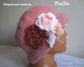 CROCHET WOOL HAT / Women Accessories Hats Detachable Flowers Cloche Hand Knitted Elegant Warm / Romantic Gift Ideas Feminine Fashion Chic