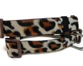 Faux fur leopard skin dog collar. FREE Engraved Pet Tag.