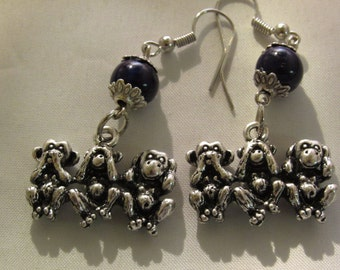 Speak No Evil See No Evil and Hear No Evil Monkey Earrings
