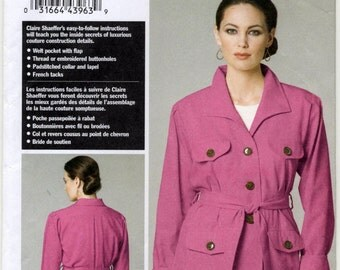 Claire Shaeffer's Custom Couture Jacket and Belt Sewing Pattern - Vogue 8732 - Sizes 8-10-12-14 - UNCUT
