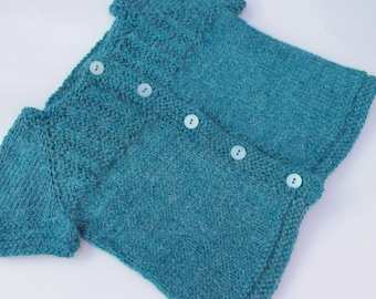 Hand Knit Short Sleeved Teal Cardigan. 12 months