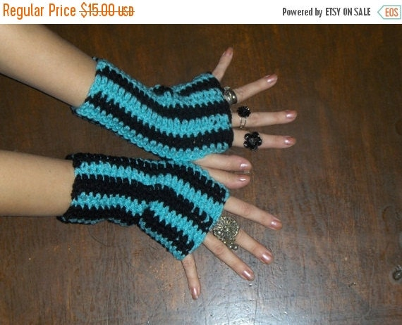 Fingerless Gloves Side Show, Carnival Crochet Handmade Crocheted Arm Warmers Texting Gloves Aqua Blue & Black Striped Arm Warmers Bohemian