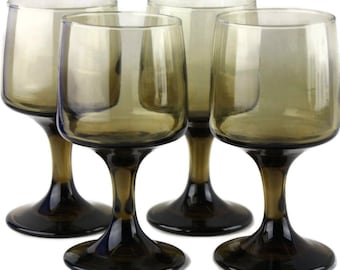 4 Vintage Libbeys Wine Glasses Tawny Accent Glassware Smokey Brown Glass Stemware Retro 70s Decor