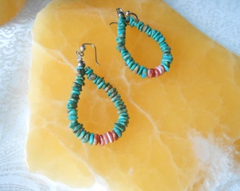 Chipped Turquoise and Coral Dangle Tribal Earrings Vintage 925 Sterling