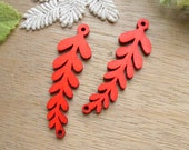 WP55 / # 4 Red / Filigree Wood Leaf Findings For Earring/Laser Cut Charm / Pendant /  Colorful wooden Connector / Linker