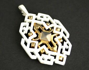 Art Deco Pendant. Vintage Pendant. White and Gold Pendant. White Pendant. Heavy Metal Pendant. 40mm x 65mm Pendant (1 pc)