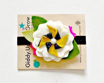 Felt Flower Headband Halloween Hair Bow Fall Pinwheel, giddyupandgrow