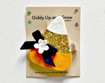 Halloween Hair Bow Candy Corn Hair Clip, Fall Headband, giddyupandgrow