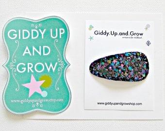 Midnight Glitter Snap Clip, Hair Bows for girls, BLACK FRIDAY SALE, giddyupandgrow