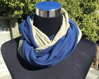 Merino wool infinity scarf, neck warmer, cowl, circle scarf in light olive and royal blue