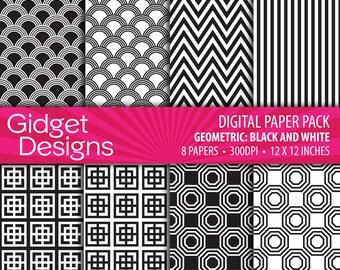 Black Digital Paper Pack Black Geometric Patterns Black Paper Instant Download Printable