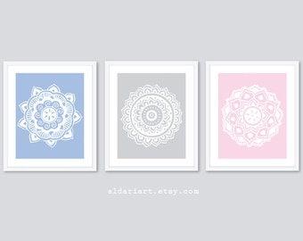 Grey Medallions Art Prints - Set of 3 - Modern Mandala Art - Modern Home Decor - Blue Grey and Pink - Custom Colors - 5x7 - 8x10