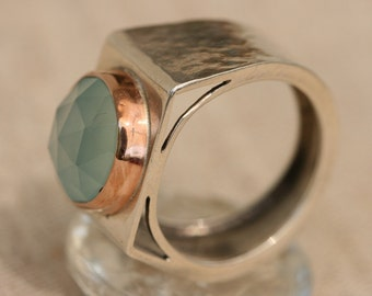 Silver Ring, Aqua Chalcy Ring, Sterling Silver Ring,  Gold Rings, Gemstone Ring, Birthstone Jewelry, Sterling Jewelry,