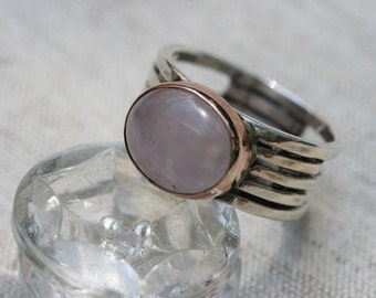 Rosquartz Ring, Handcrafted Solid Silver Ring, Sterling Silver  Ring, Silver and Gold Ring, Birthstone Ring, Pink Stone Ring