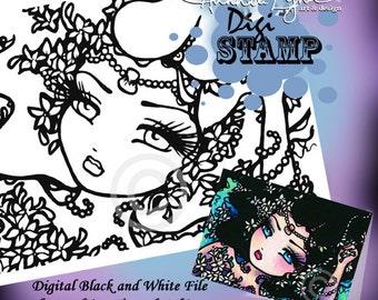 PRINTABLE Jasmine Mermaid Fantasy Art Digi Stamp Coloring Page Fantasy Art Hannah Lynn