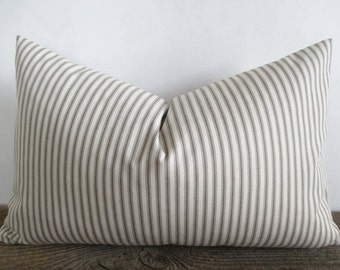 Pillow Cover Lumbar Taupe Fawn Ticking Stripes many sizes