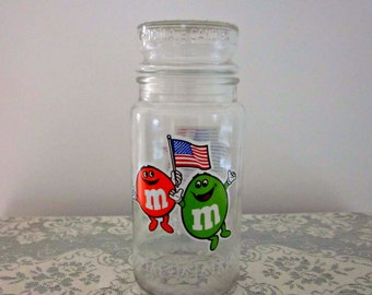 Vintage M & M's 1984 Olympic Commemorative Jar, Original Sticker on Lid, Mars, Inc. 1983 - Collectible - Glass Candy Container - Candy Jar