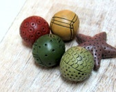 Colorful Bead set for jewelry making, Artisan Beads, Hand Carved Beads, Hollow Beads, Handmade Beads, Organic Beads