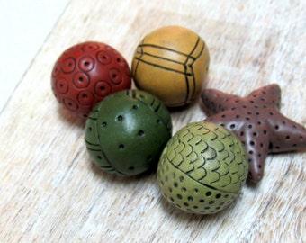 Colorful Bead set, Artisan Beads, Art Beads, Hand Carved Beads, Hollow Beads, Handmade Beads, Mustard, Marsala, Green, Brown, Organic Beads
