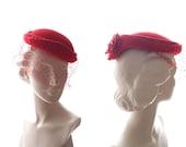 1930s Red Tilt Hat velour felt shaped crown with frilled back & French veil