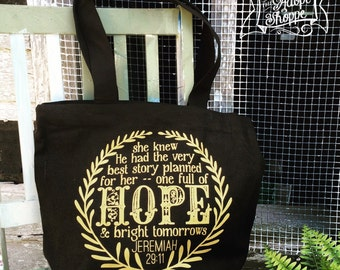 jeremiah 29:11 hope & bright tomorrows tote bag