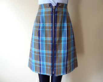 A Line Mini Skirt  with Blue and Aqua Plaid size Extra Small School Girl Skirt