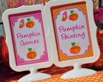Pumpkin Birthday Party 4x6 SIGNS , Pumpkin Patch, Girls 1st Birthday Decorations - (2) 4x6 Printed Signs (Frames NOT included)
