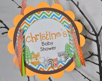 Baby Shower DOORSIGN, Woodland Animals, Foxy Mama, Baby Shower Decorations, Party Sign Gender Neutral Baby Shower