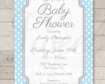 Boys Baby Shower Invitations - Blue and Gray POLKADOTS - Boy Baby Shower Decorations - Boy Baby Shower Invites - Set of 12