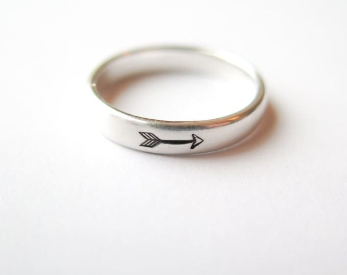 Arrow Ring - Hand Stamped Jewelry - Sterling Silver by Betsy Farmer Designs