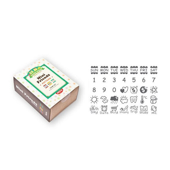 Calendar Sheet Rubber : Minifriends date calendar daily rubber stamp