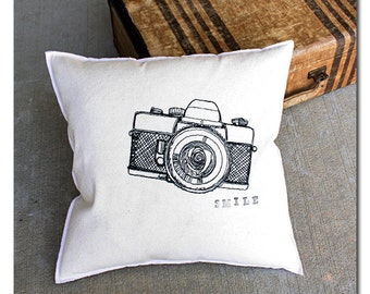 Smile Vintage Camera Embroidered 18x18 Pillow