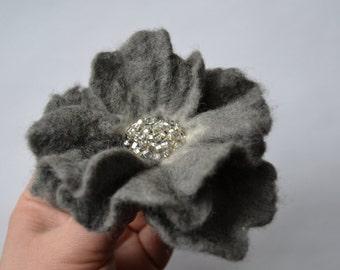 Gray Felted Flower Brooch,Felt Flower Pin with Silver Beads, Wool Flower Brooch,Wet Felted Flower,Wet Felted Corsage Brooch,Woolen Brooch