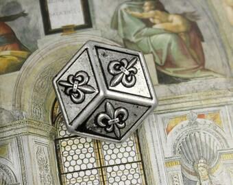 Metal Buttons - Hexagonal Fleur-De-Lis Metal Buttons , Retro Silver Color , Shank , 0.91 inch , 10 pcs