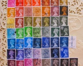 Royal Rainbow 50 Vintage Great Britain Postage Stamps Machin Machins QE2 Queen Elizabeth II British UK Queen Mum Mothers Day GB Philately