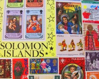 Traditional Christmas 50 Vintage Religious Postage Stamps Christian Jesus Nativity God Virgin Mary Manger Wise Men US Worldwide Philately