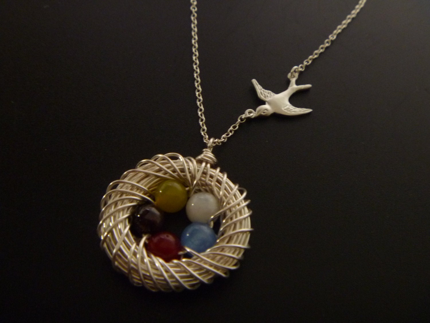 birds nest necklace five 5 eggs in a nest necklace