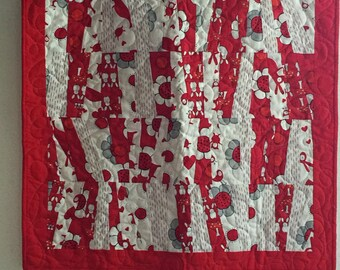 Red and White Baby quilt/table topper - Free Shipping