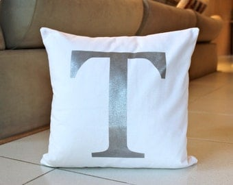 Monogram Pillow Cover 16 x 16 Initial Cushion White and Silver Decorative Pillow Modern Throw Pillow