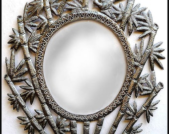 Metal Mirror Wall Hanging-  Bamboo Design, Metal Wall Mirrors - Metal Art of Haiti - Haitian Recycled Steel Drum Metal  Art - J-118-M-30