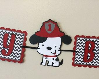 Puppy dog Fireman  Happy Birthday Banner