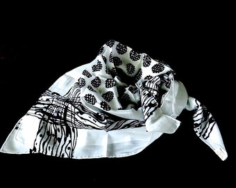 Midcentury White & Black Scarf Made in Japan Graphic Motif